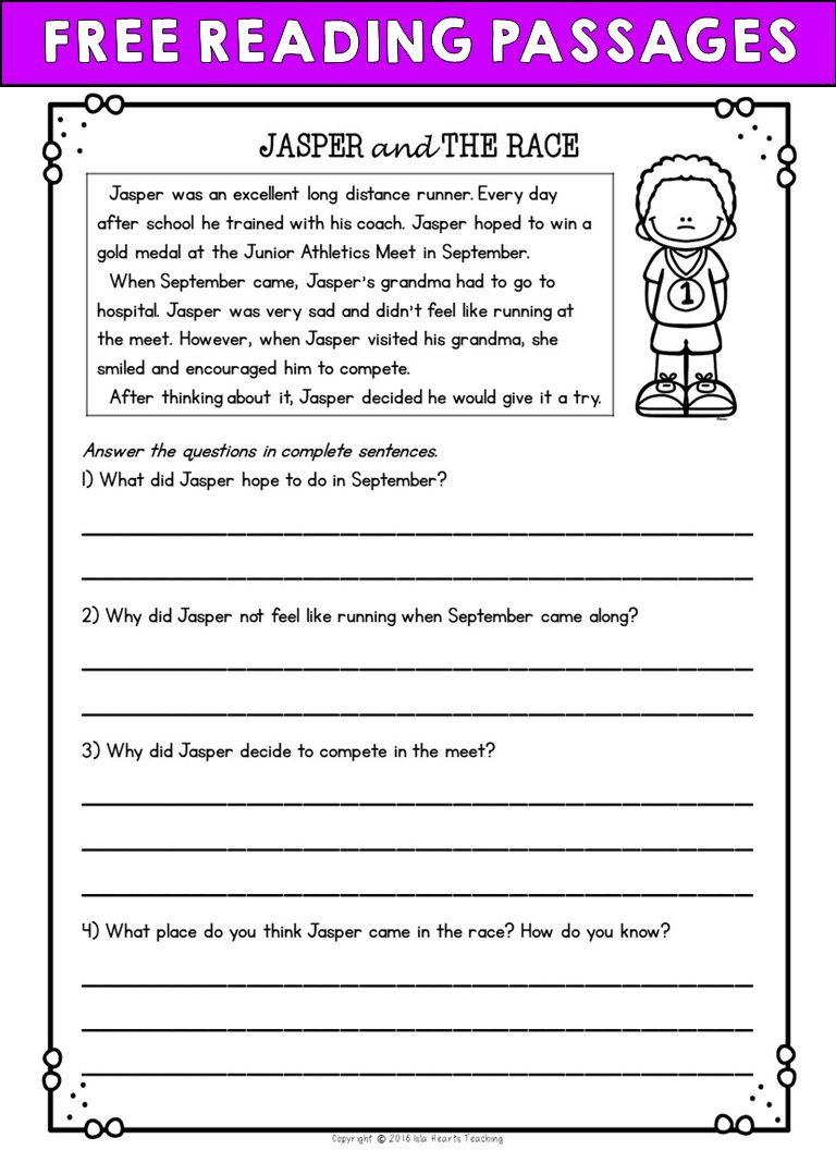 2nd Grade Comprehension Worksheet Second Grade Reading Prehension Passages and Questions