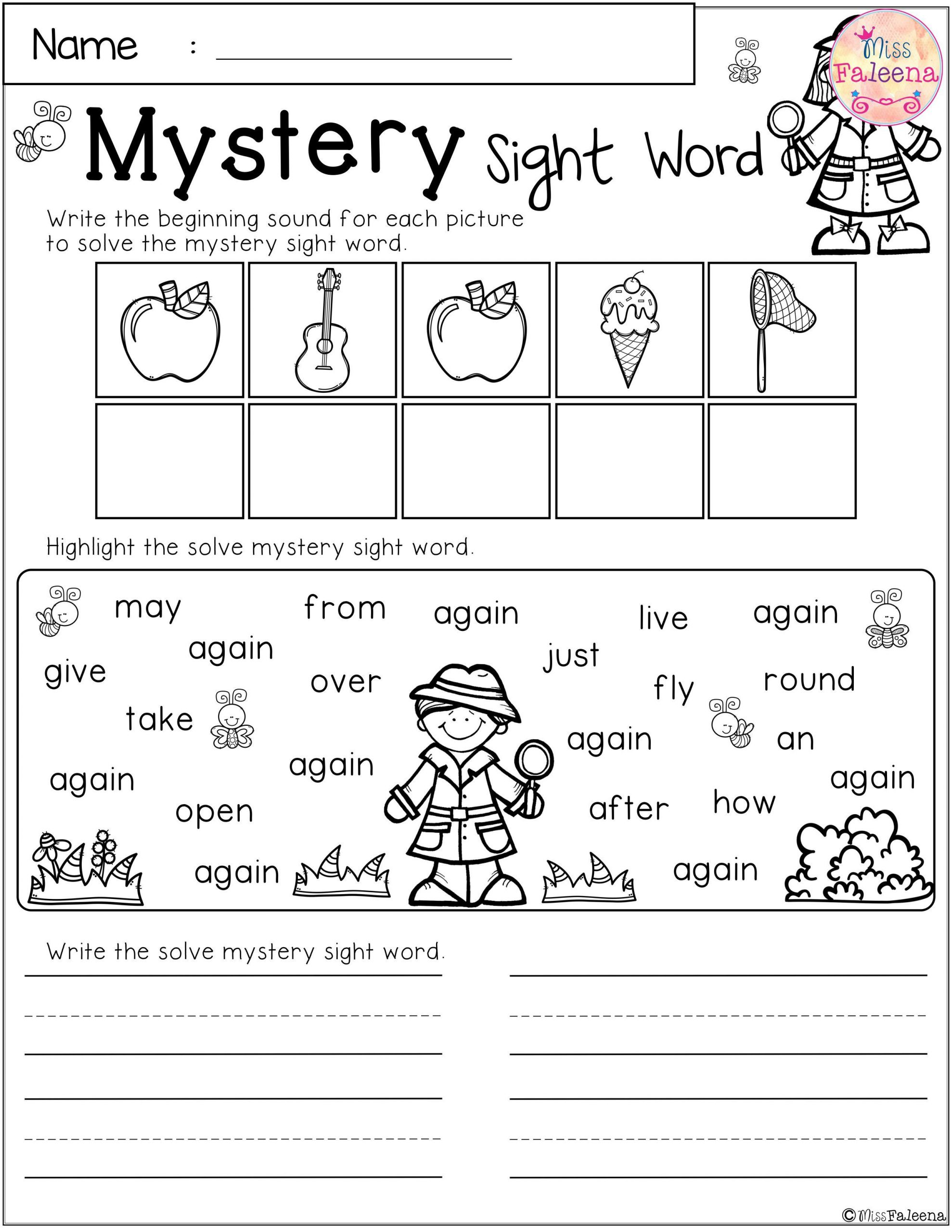 2nd Grade Sight Words Worksheet Free Mystery Sight Word Practice