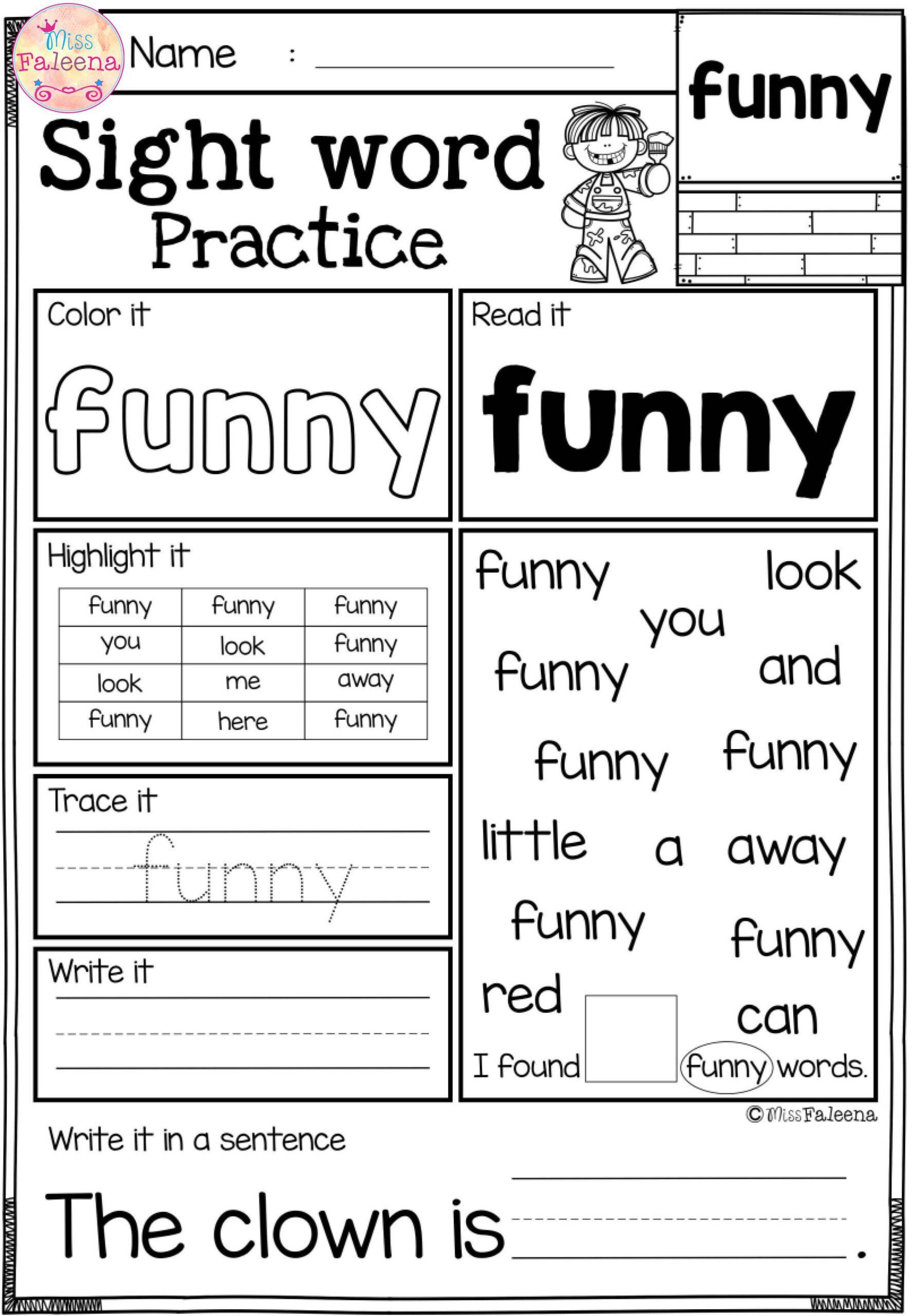 2nd Grade Sight Words Worksheet Free Sight Word Practice Fun Worksheets Grade Math Lessons