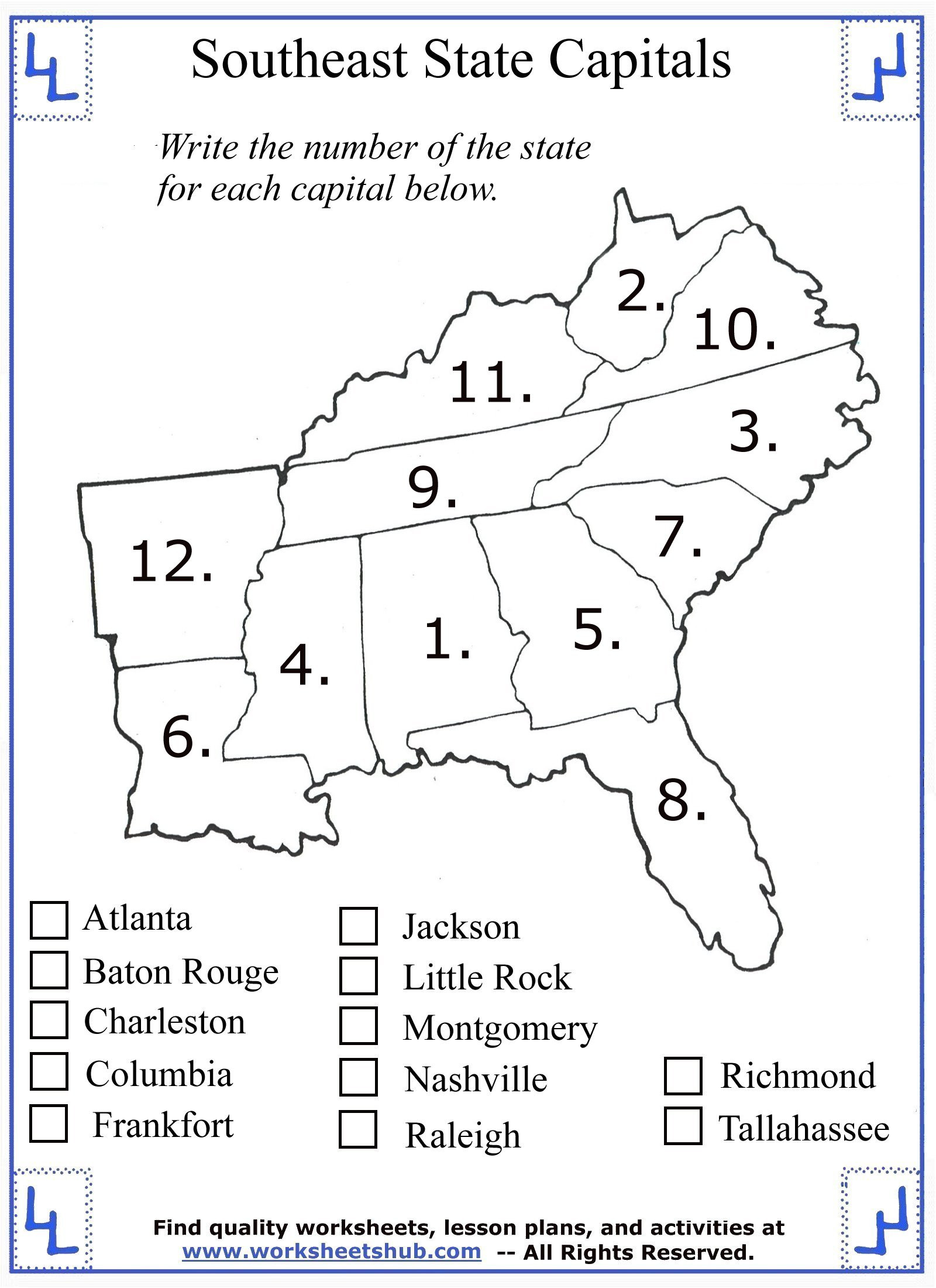 2nd Grade social Studies Worksheet 4th Grade social Stu S southeast Region States