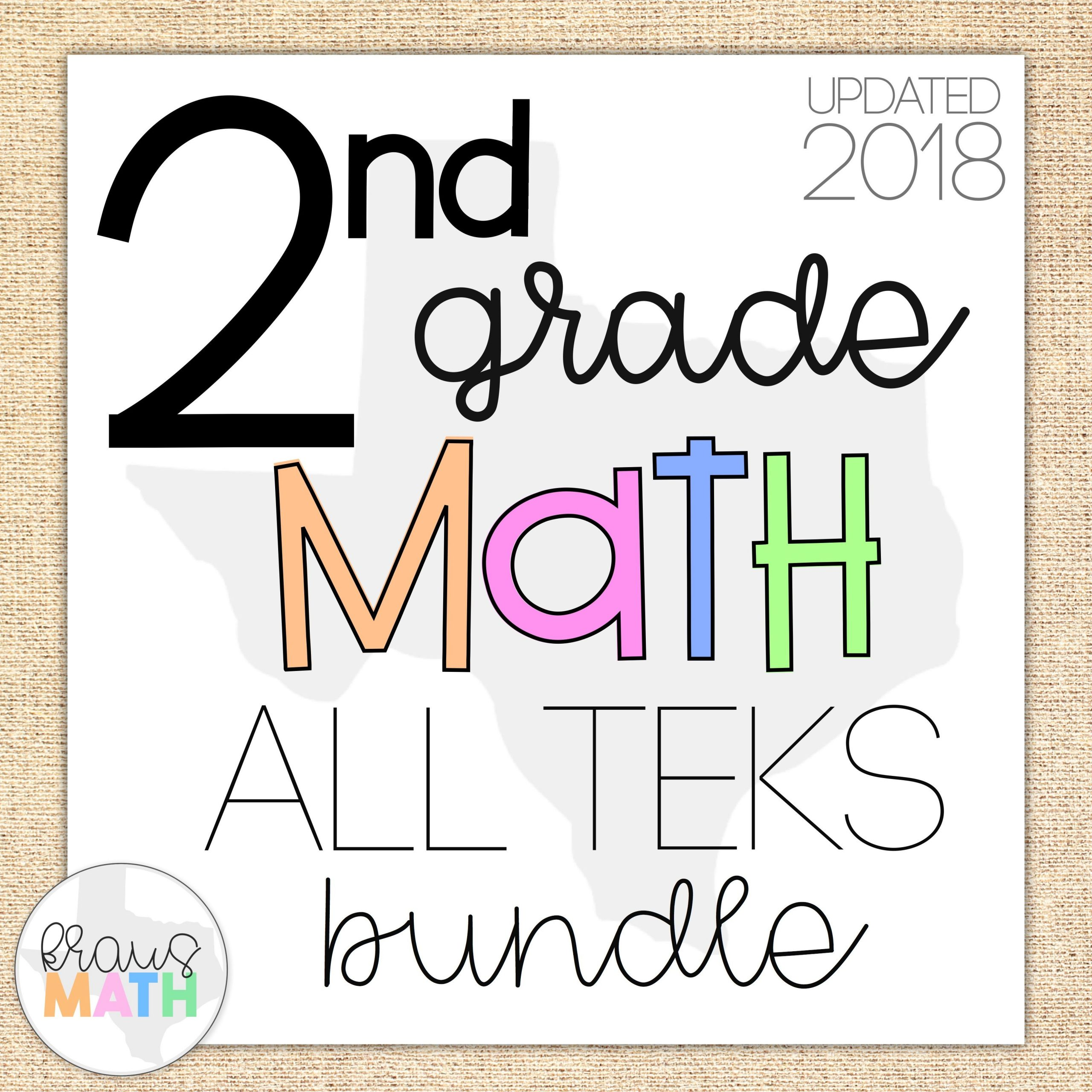 2nd Grade Teks Math Worksheets 2nd Grade Math Teks Aligned Task Cards All Teks Bundle