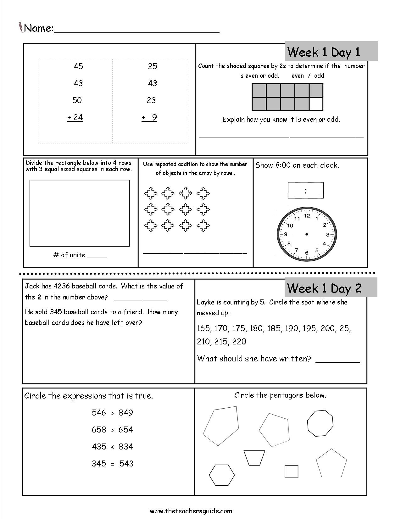 2nd Grade Teks Math Worksheets Free 3rd Grade Daily Math Worksheets