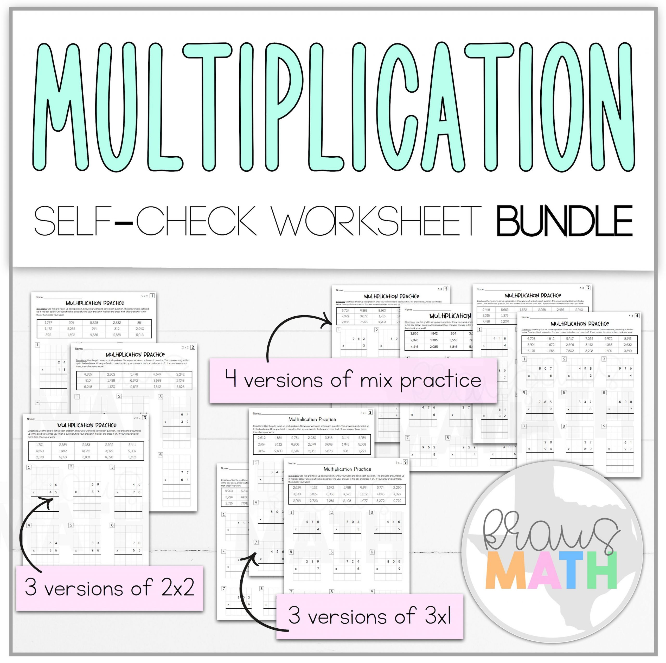 2nd Grade Teks Math Worksheets Multiplication 2x2 & 3x1 Self Check Worksheet Bundle Teks