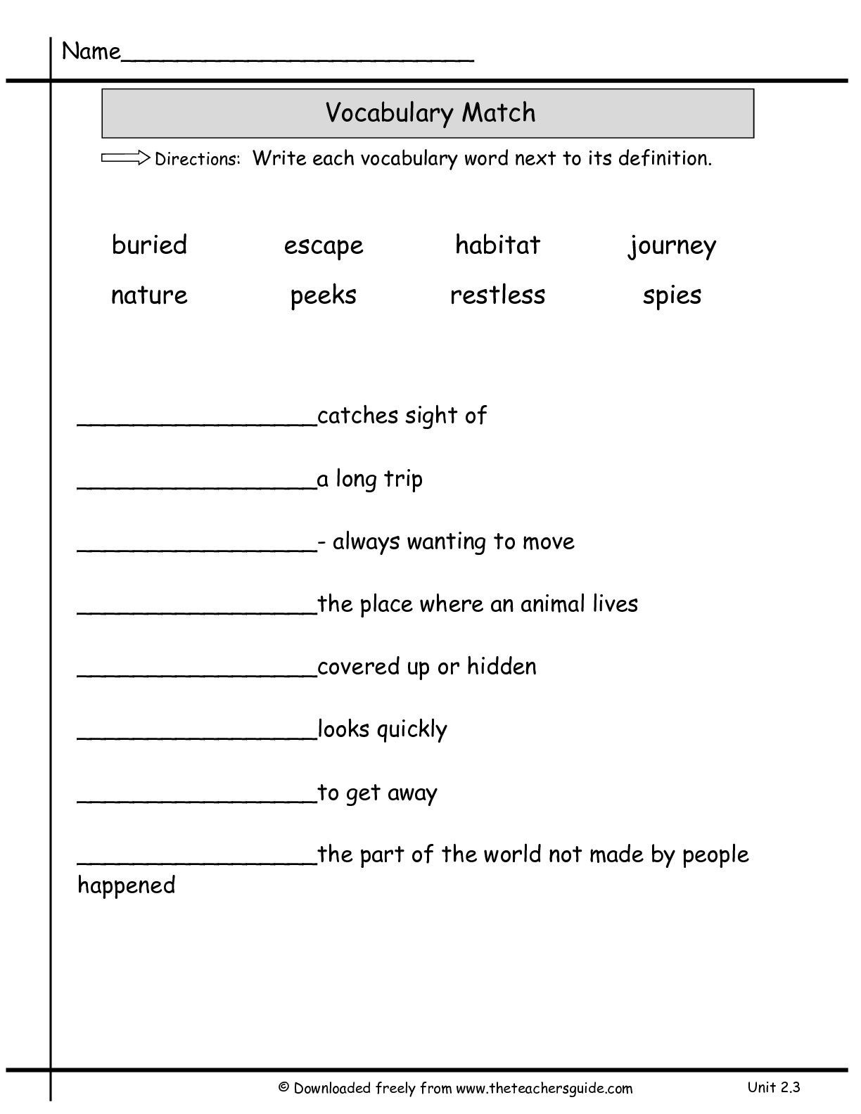2nd Grade Vocabulary Worksheets 2nd Grade Vocabulary Worksheets