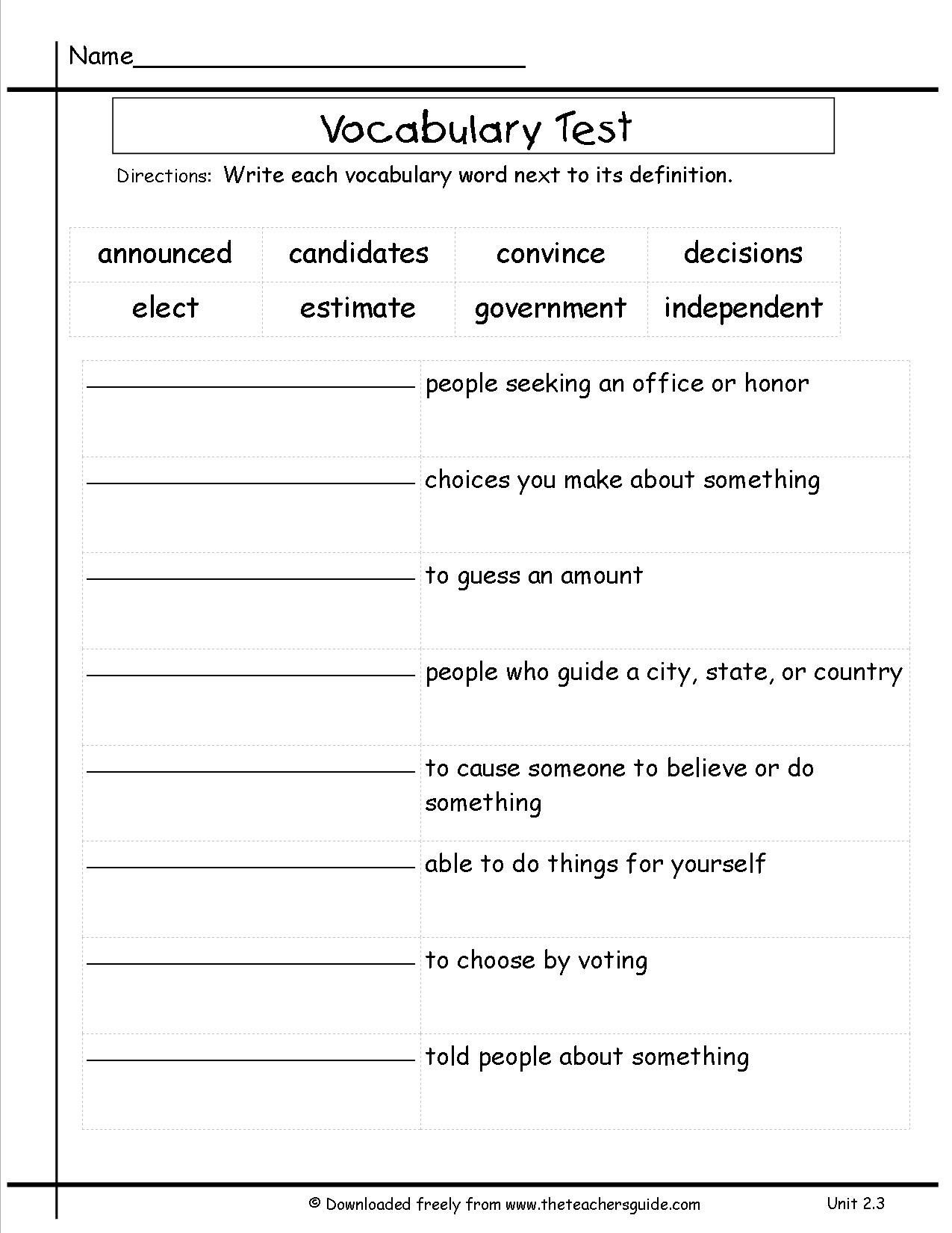 2nd Grade Vocabulary Worksheets 3rd Grade Vocabulary Worksheets for Download 3rd Grade