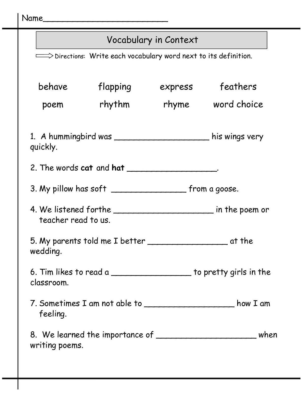 2nd Grade Vocabulary Worksheets Second Grade Worksheets