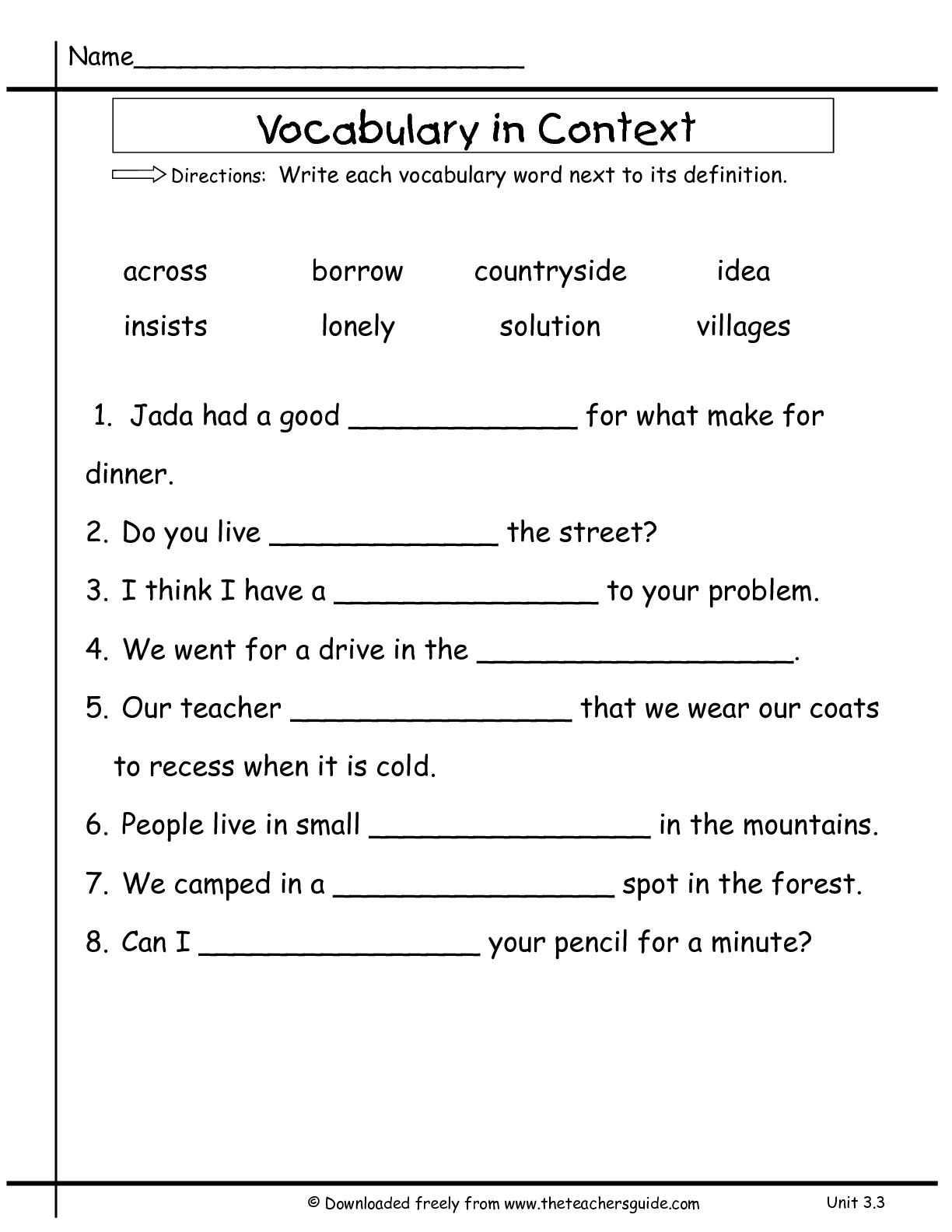 2nd Grade Vocabulary Worksheets Wonders Second Grade Unit Three Week Three Printouts