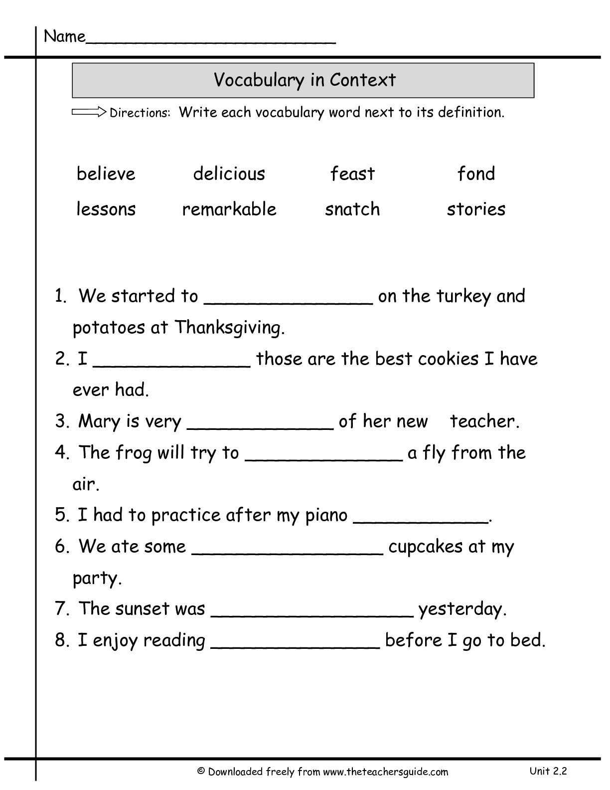 2nd Grade Vocabulary Worksheets Wonders Second Grade Unit Two Week Printouts Vocab In