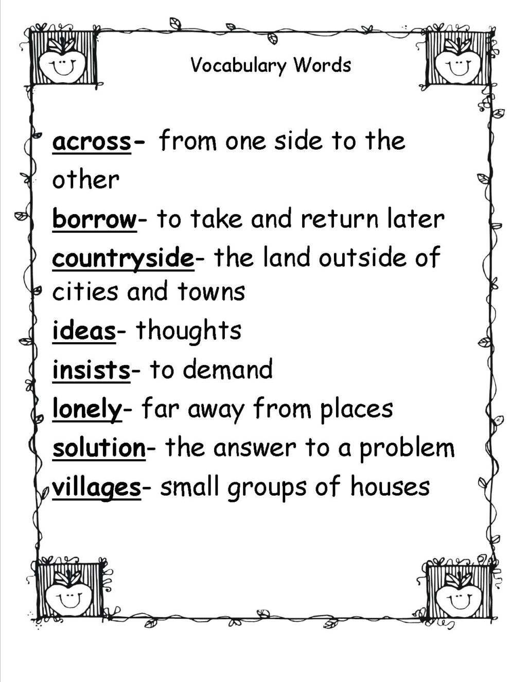 2nd Grade Vocabulary Worksheets Worksheet Vocabulary Words for 2nd Grade Barka Fabulous