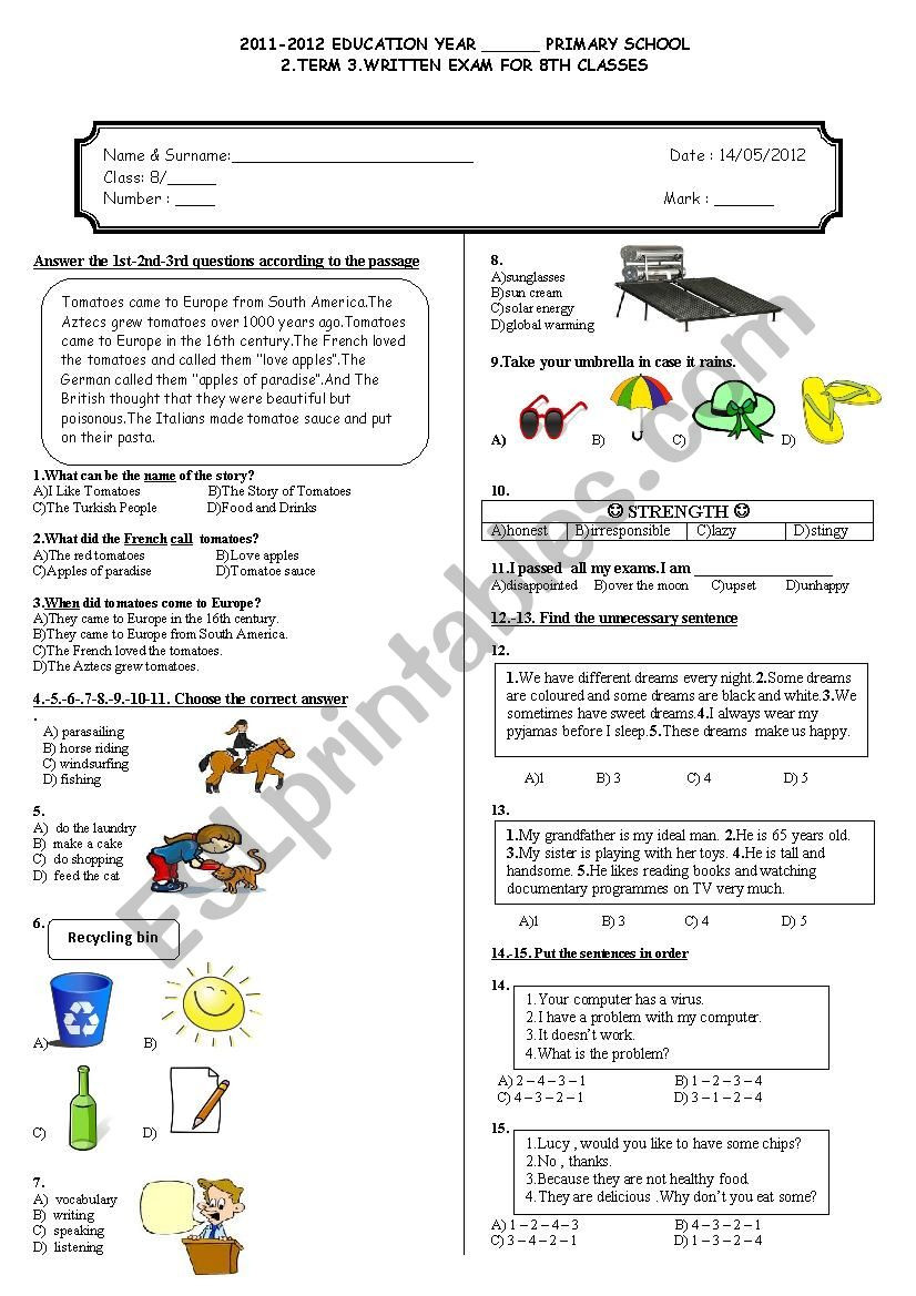 3rd Grade Health Worksheets 8th Grade 2nd Term 3rd Exam Esl Worksheet by Adrenalin83