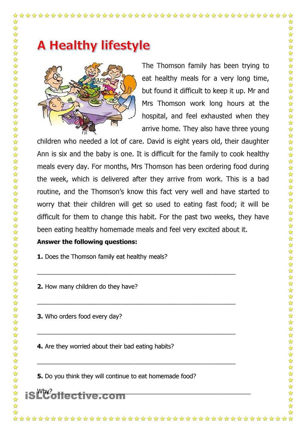 3rd Grade Health Worksheets A Healthy Lifestyle
