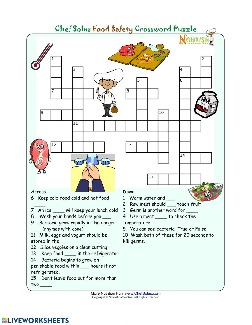 3rd Grade Health Worksheets Food Safety Crossword Interactive Worksheet