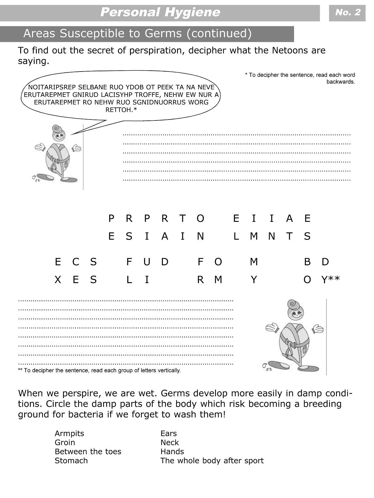 3rd Grade Health Worksheets Personal Hygiene Worksheets for Kids Level 3 2