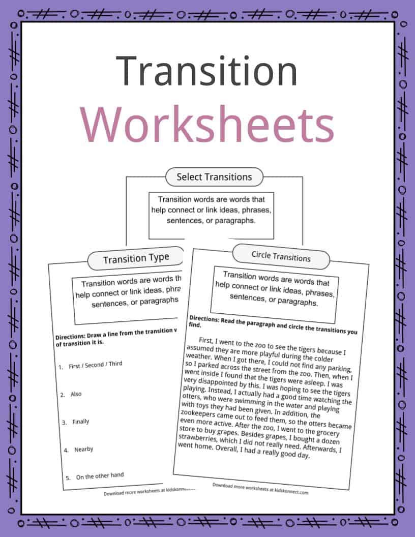 3rd Grade Paragraph Writing Worksheets Transition Words Worksheets Examples & Definition for Kids