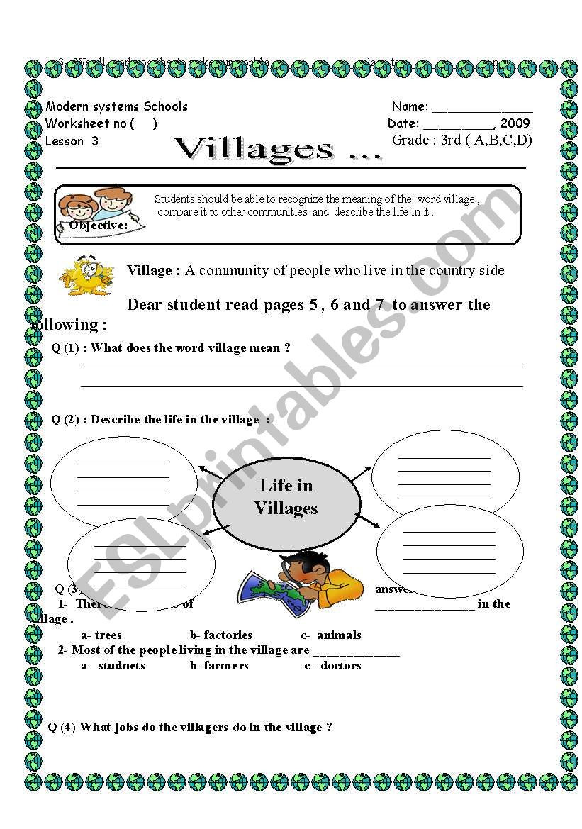 3rd Grade social Studies Worksheet English Worksheets Vilages social Stu S