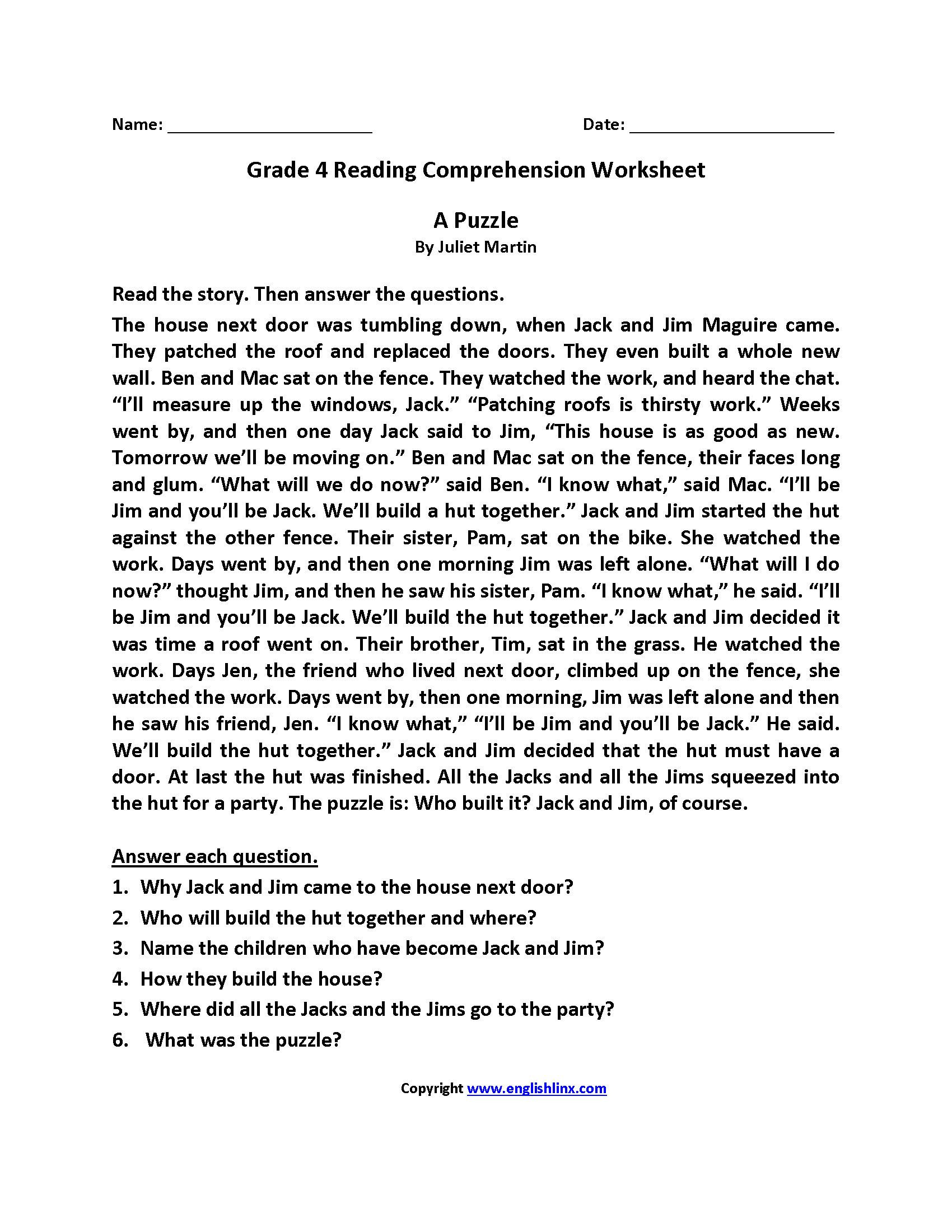 4th Grade Main Idea Worksheets Math Worksheet 3rd Grade Reading Prehension Worksheets