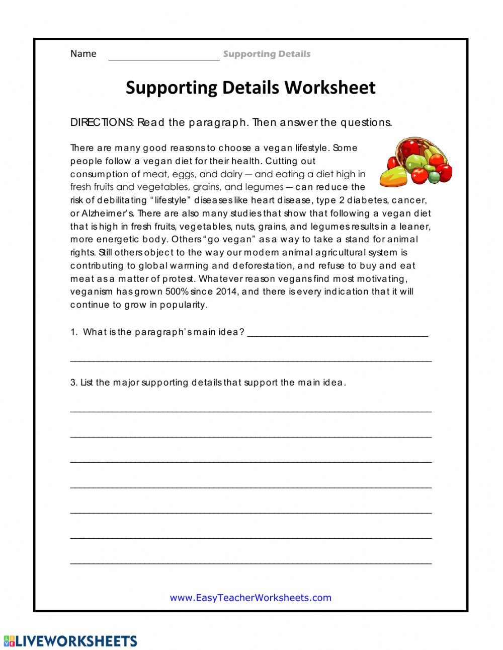 4th Grade Main Idea Worksheets Supporting Details Worksheet Interactive Worksheet