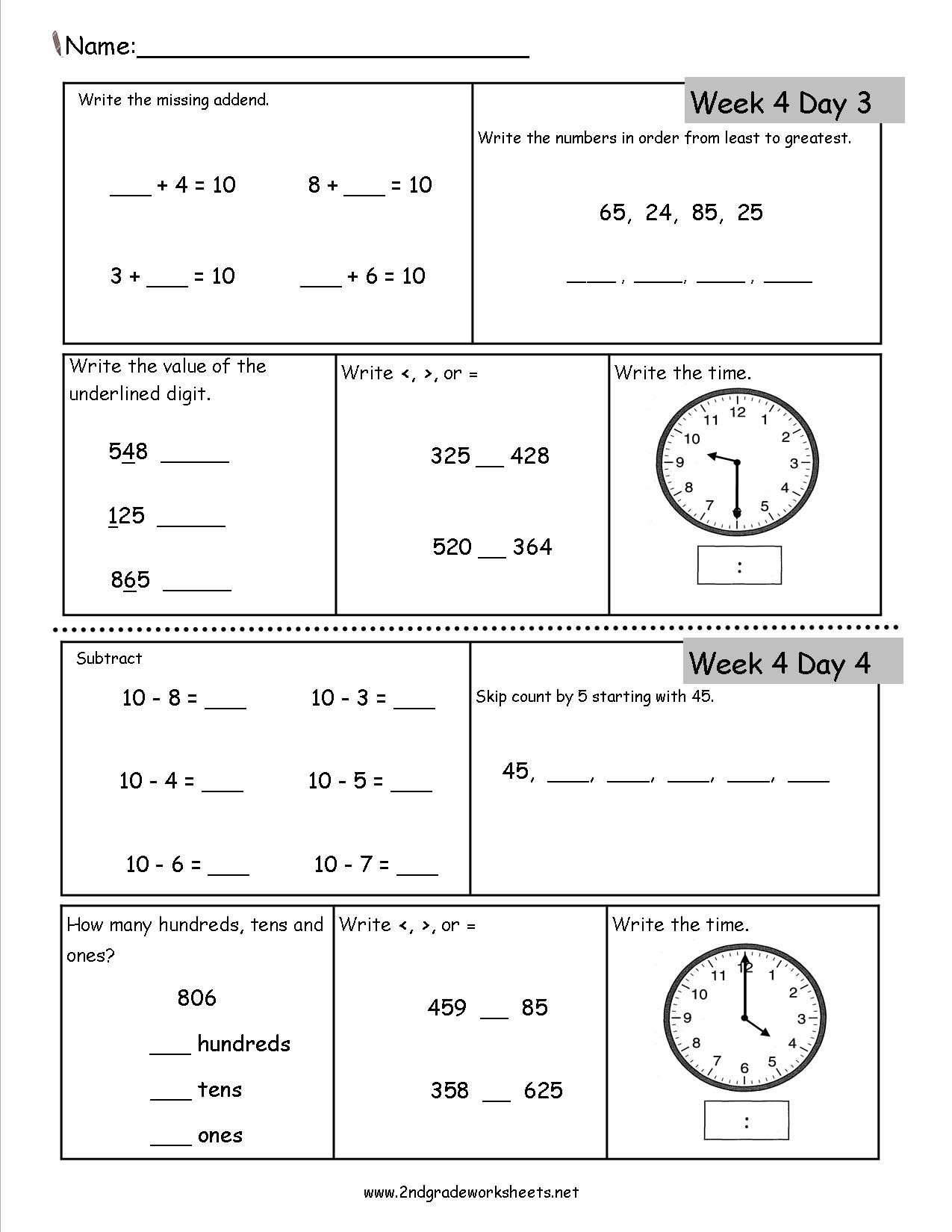 4th Grade Math Review Worksheets 2nd Grade Daily Math Worksheets
