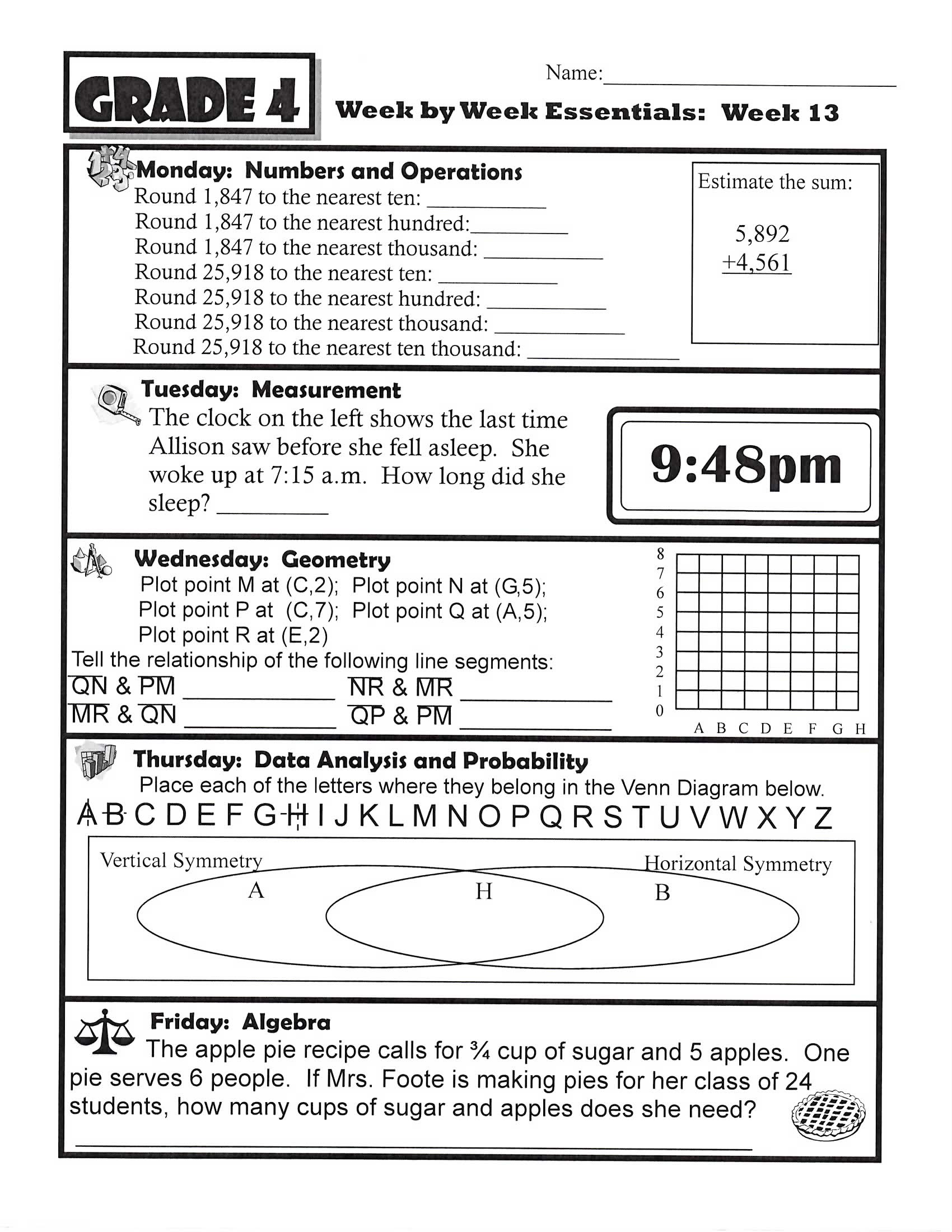4th Grade Math Review Worksheets Math Worksheet 44 Math Exercises for Grade 4 Picture Ideas