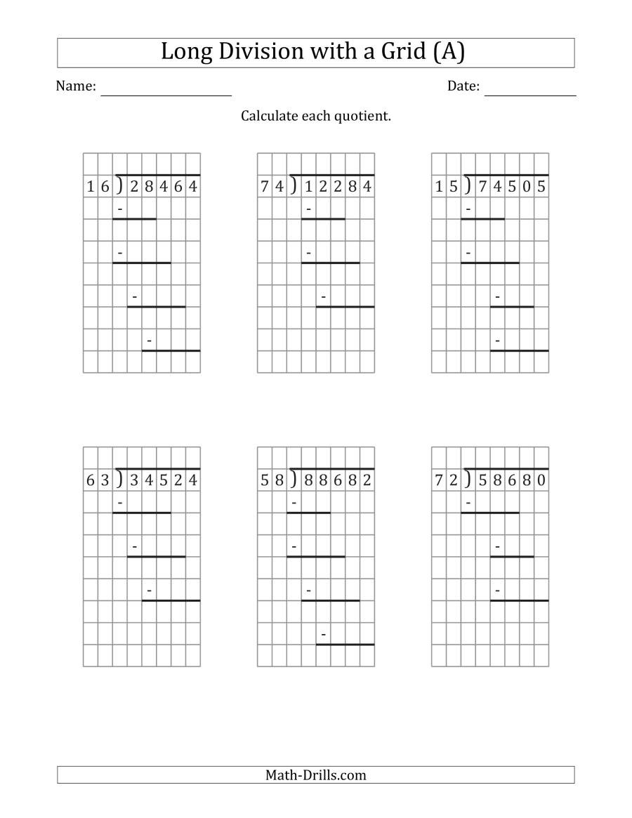 5th Grade Division Worksheets 5 Digit by 2 Digit Long Division with Grid assistance and