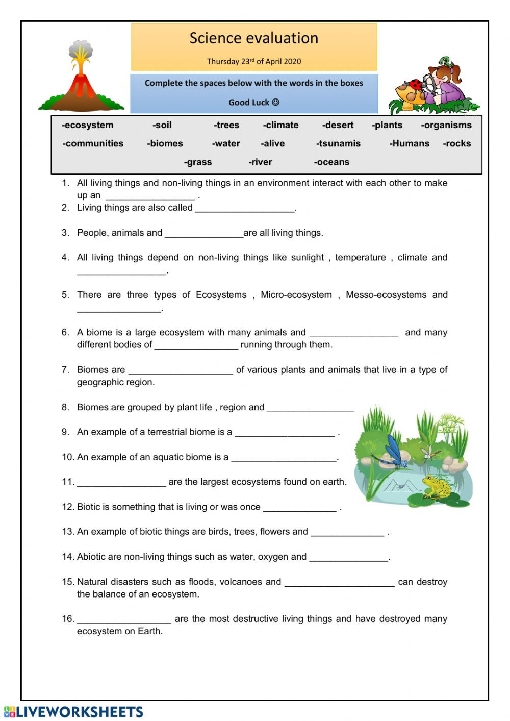 5th Grade Ecosystem Worksheets Ecosystems Online Worksheet and Pdf