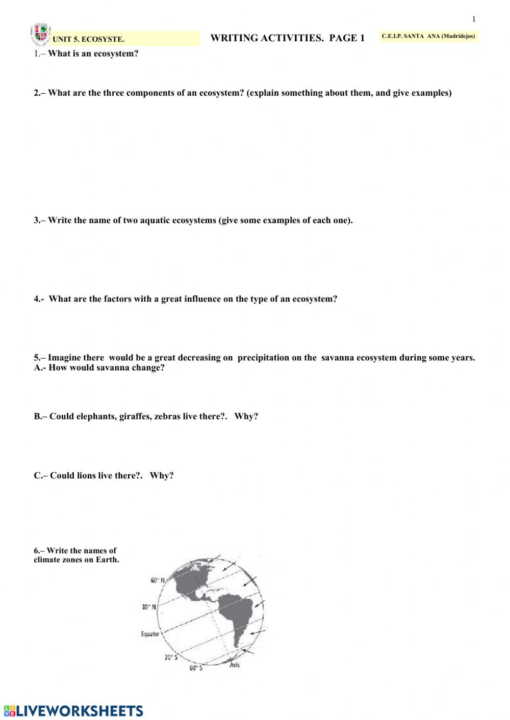 5th Grade Ecosystem Worksheets Ecosystems Sheet 1 Interactive Worksheet