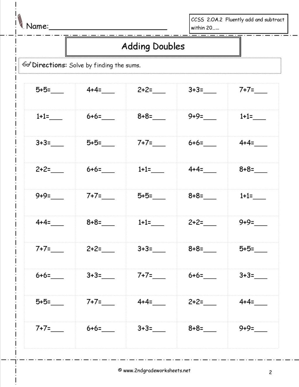 5th Grade social Studies Worksheet Worksheet Doubles50 Free Printable Math Sheets for 5th