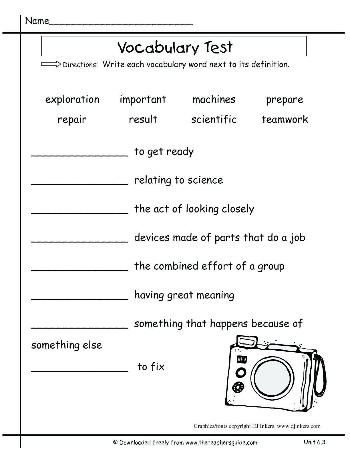 5th Grade Vocabulary Worksheet Pin On Grade Main Idea Worksheets
