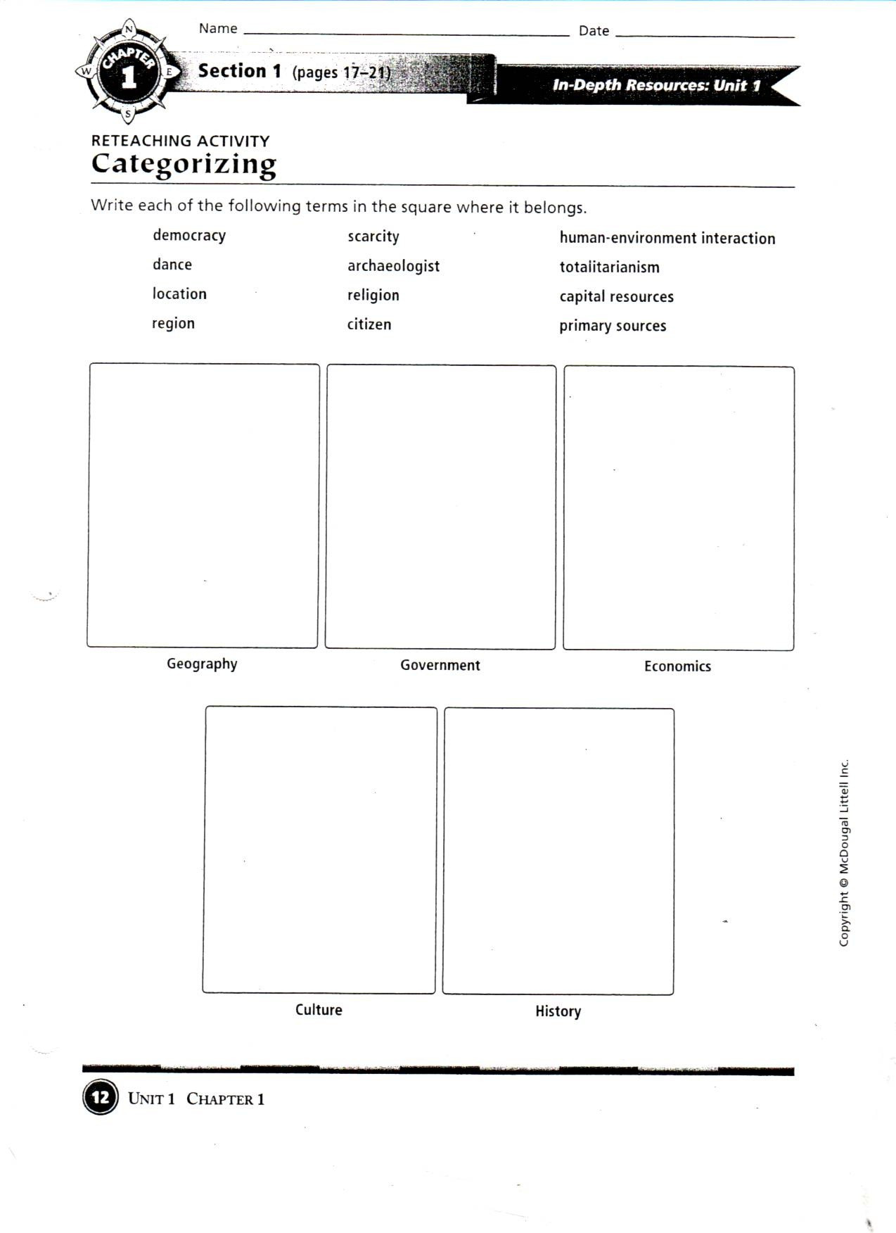 7th Grade Geography Worksheets Five themes Geography Grade 4 Worksheet