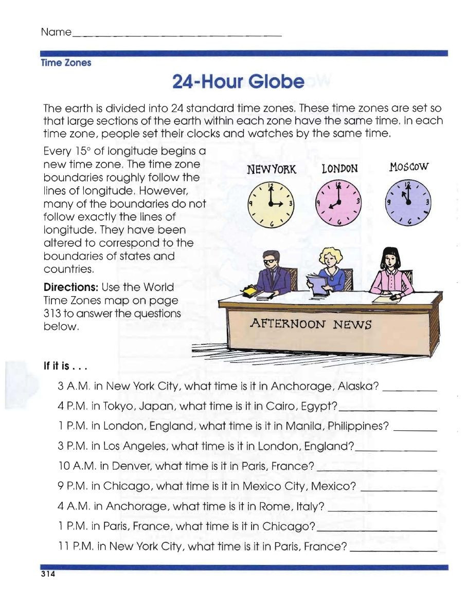7th Grade Geography Worksheets Global Geography Worksheets Time Zones with Year