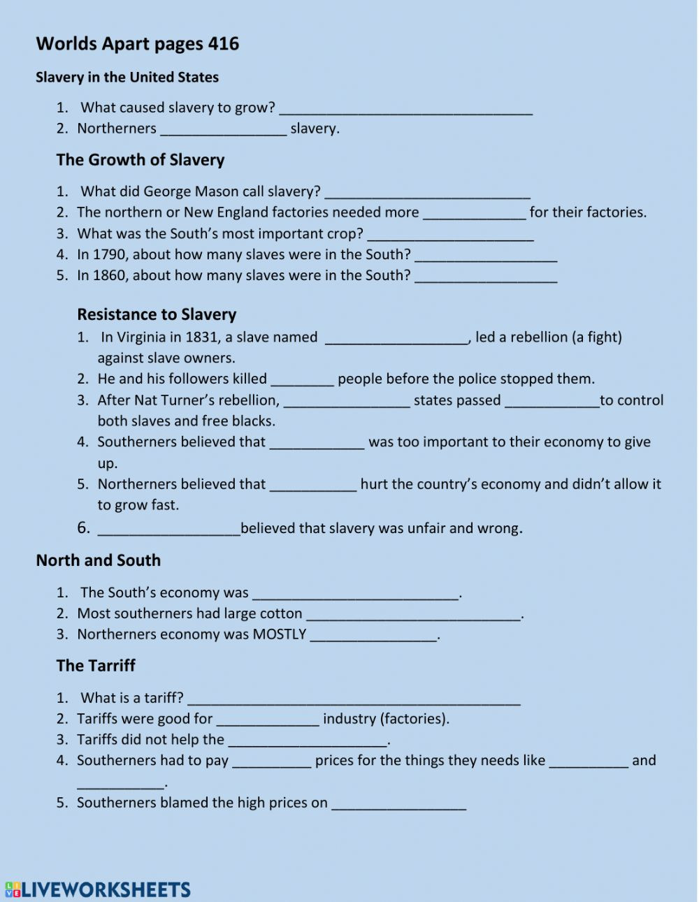 8th Grade History Worksheets Civil War Interactive Worksheet