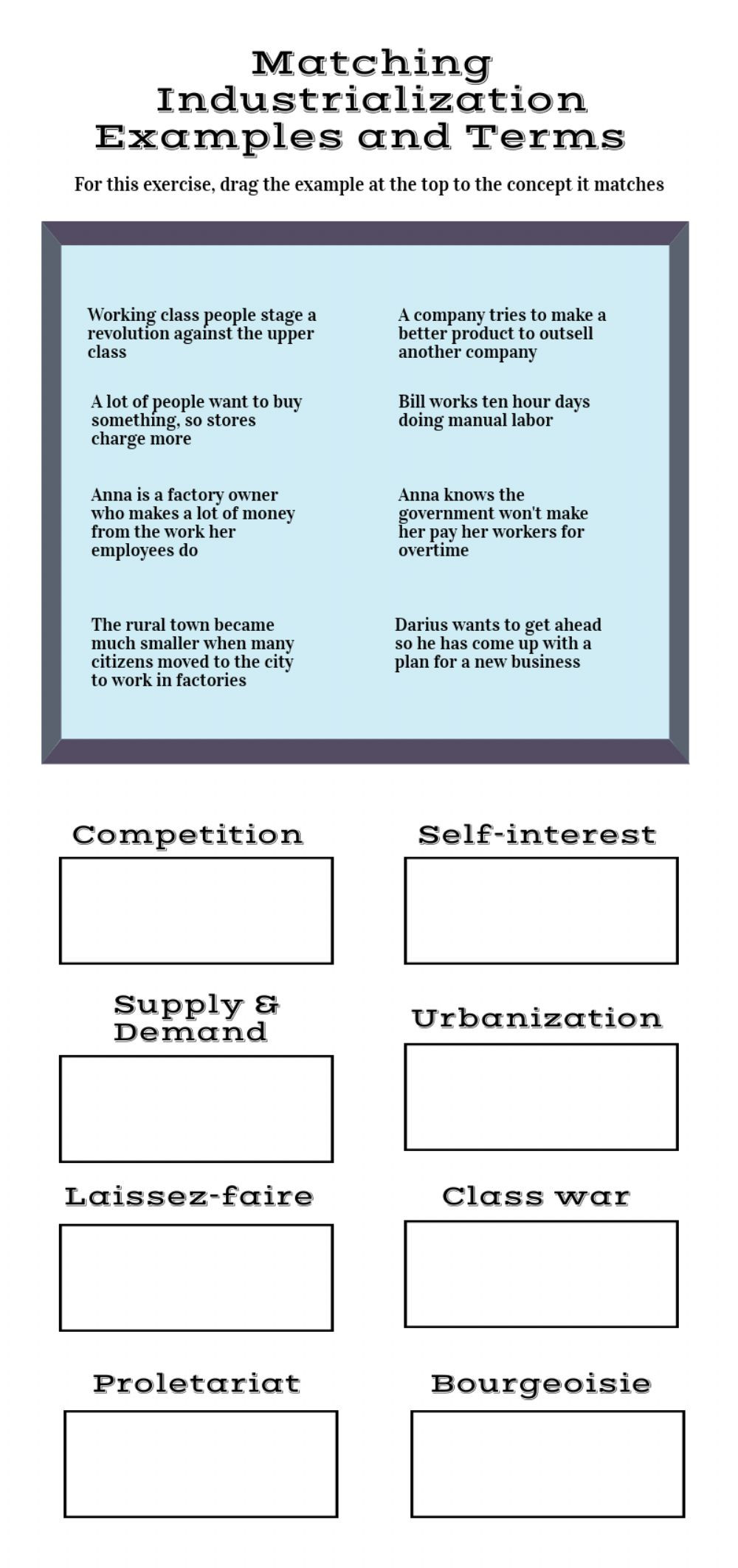 8th Grade History Worksheets Industrialization Examples and Terms Interactive Worksheet