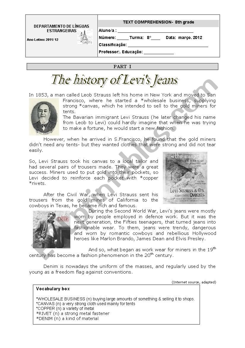 8th Grade History Worksheets the History Of Levi´s Jeans 8th Grade Ws Esl Worksheet by