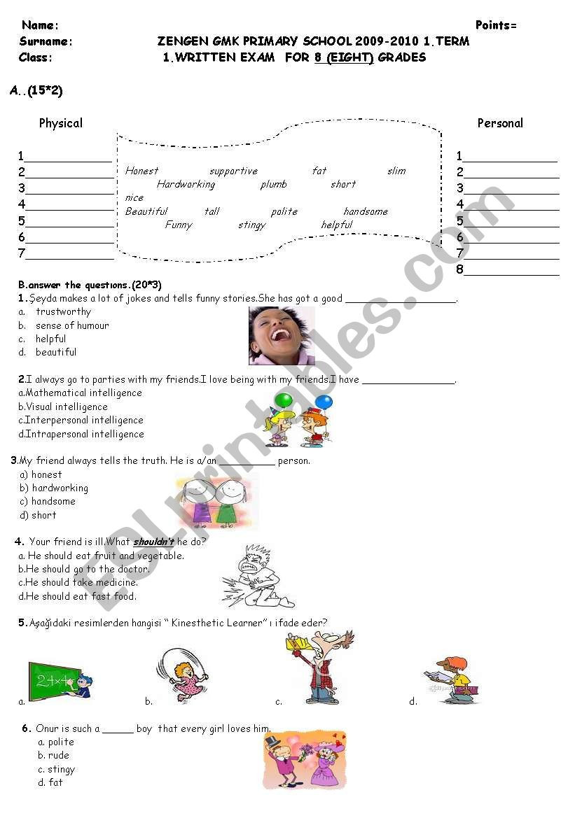 8th Grade Language Arts Worksheets 8th Grade Writing Exam Esl Worksheet by Dilekche