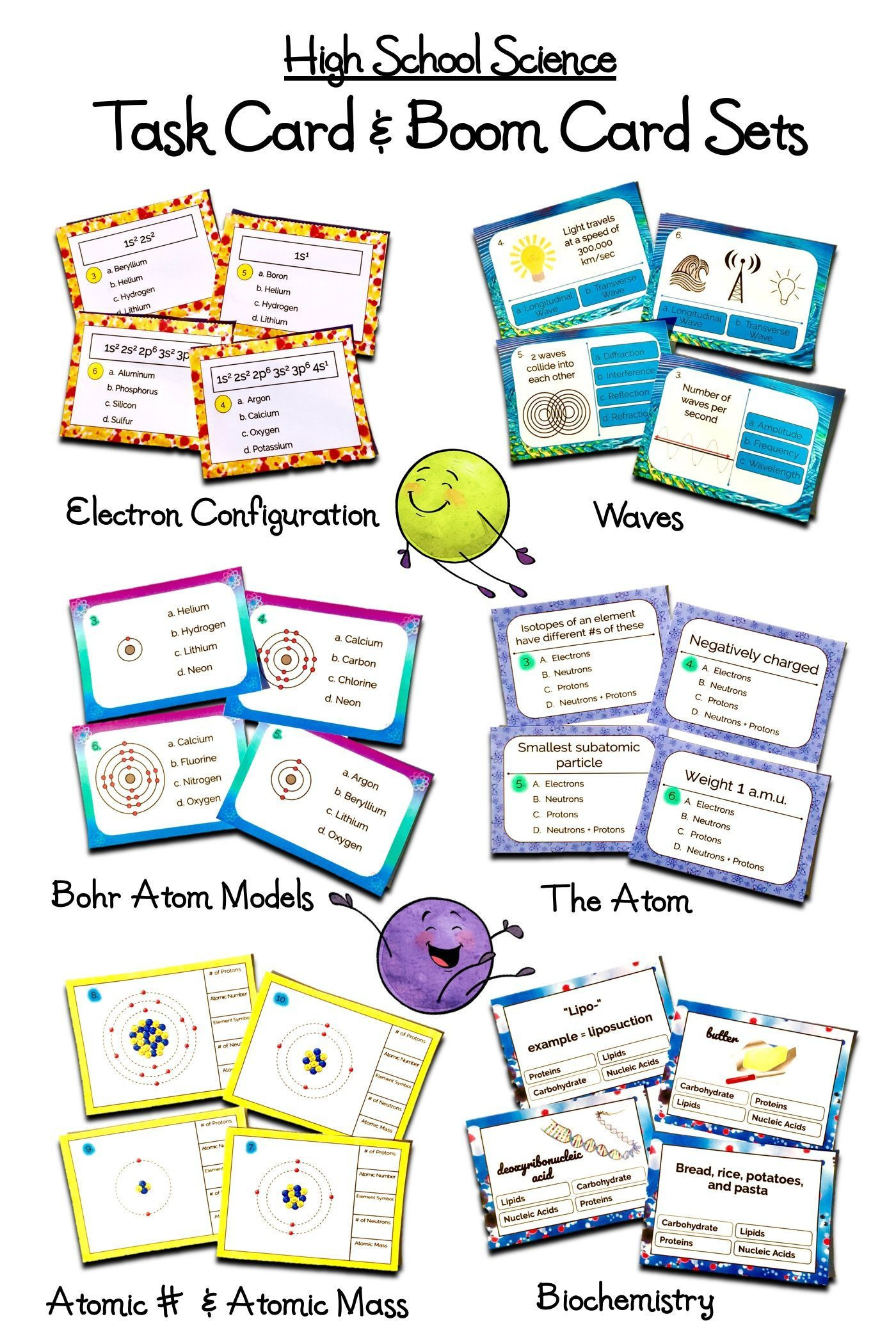 9th Grade Physical Science Worksheets High School Science Task Card & Line Boom Card Activity