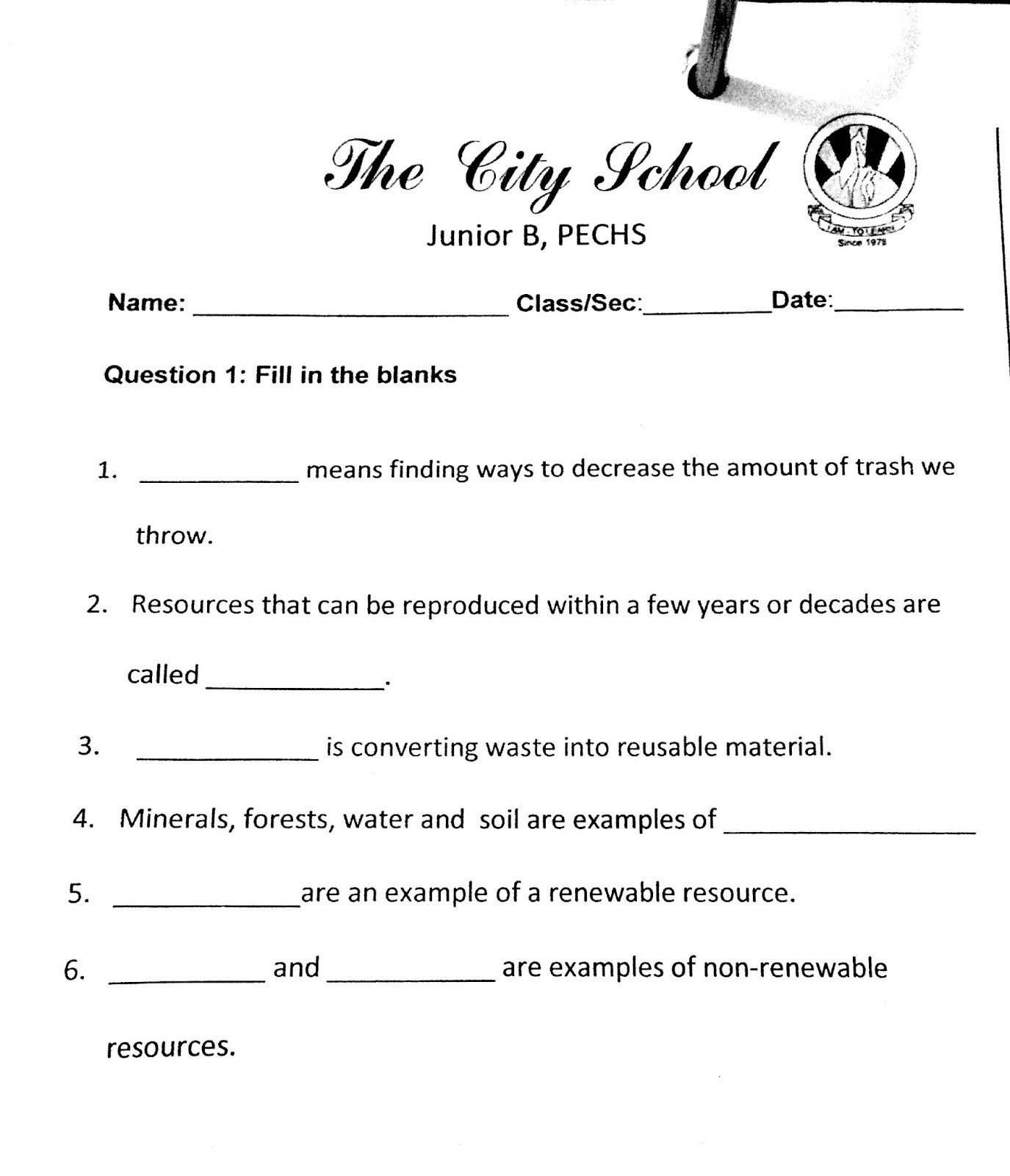 9th Grade social Studies Worksheets the City School Grade social Stu S Revision Worksheet