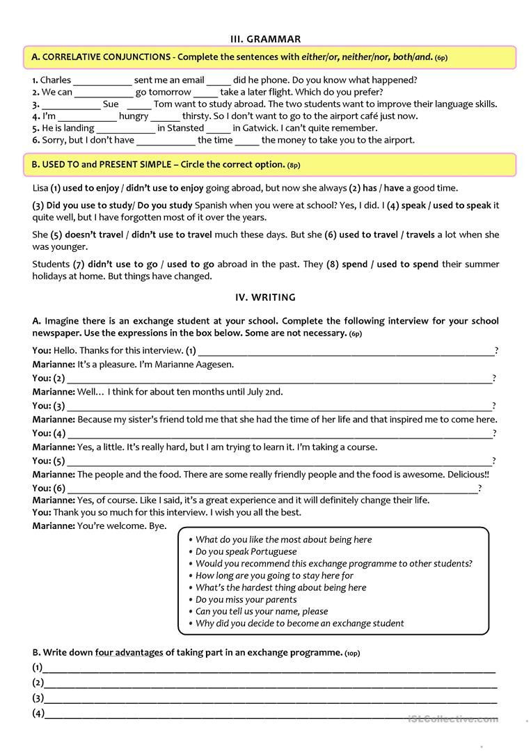 9th Grade Vocabulary Worksheet Exchange Programmes Test A2 B1 9th Grade Version B