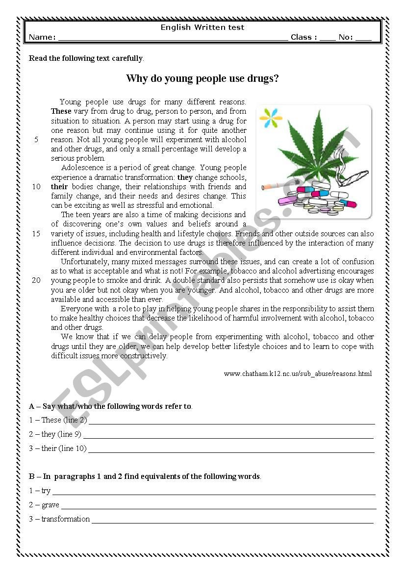 9th Grade Vocabulary Worksheet Test 9th Grade why Do Young People Use S Esl