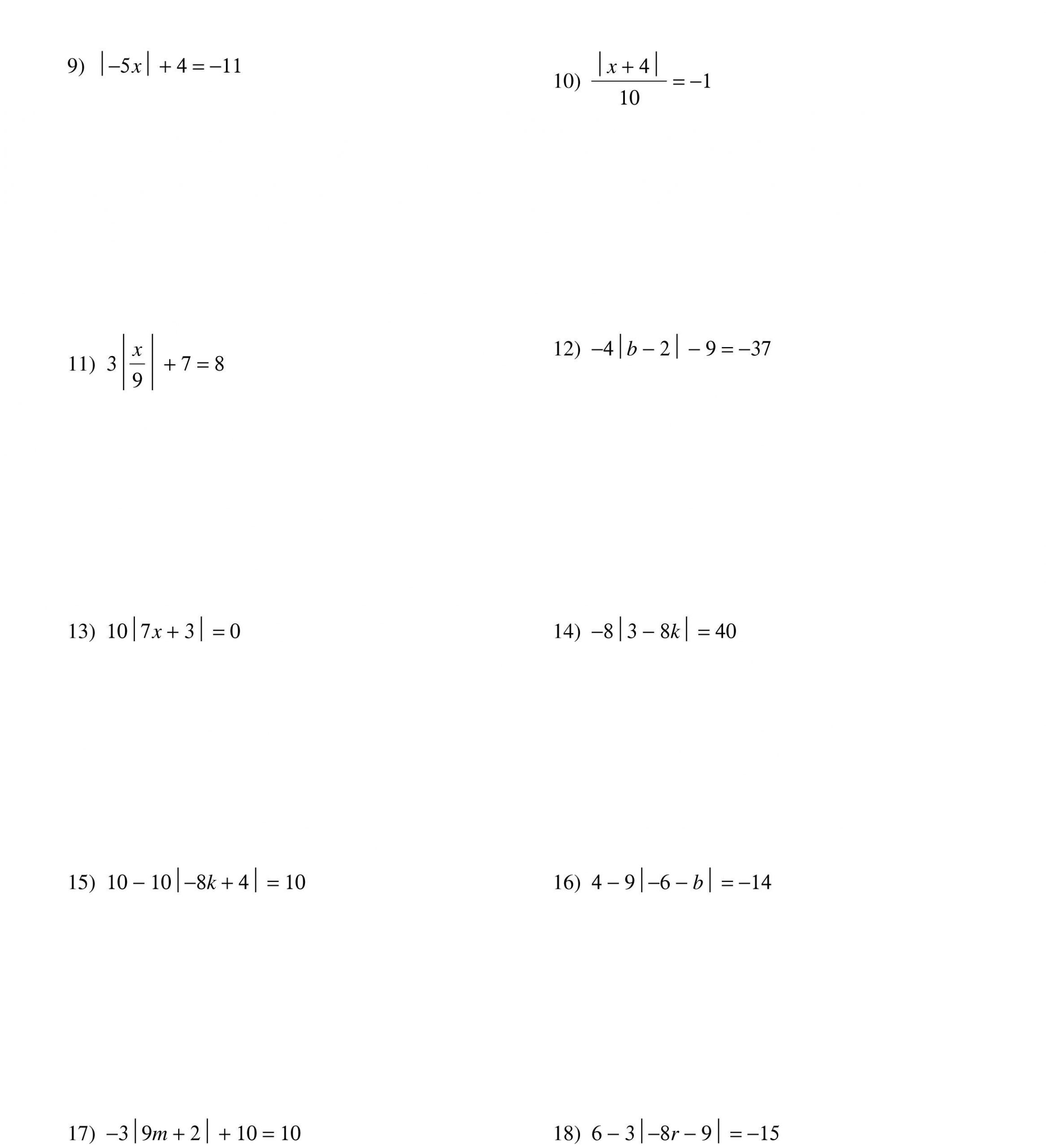 Absolute Value Worksheets 6th Grade solving Absolute Value Equations Worksheet