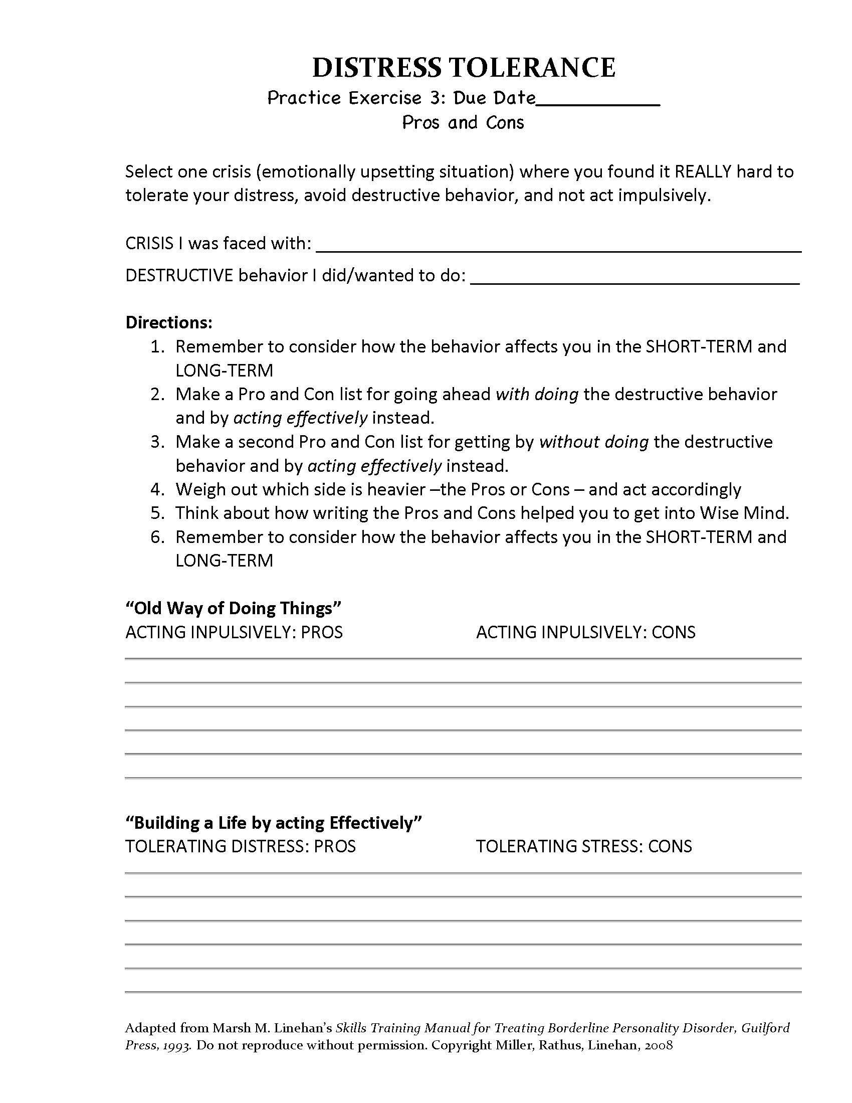 Adaptation Worksheets for Middle School Dbt Distress tolerance Pros Cons Homework assignment 3
