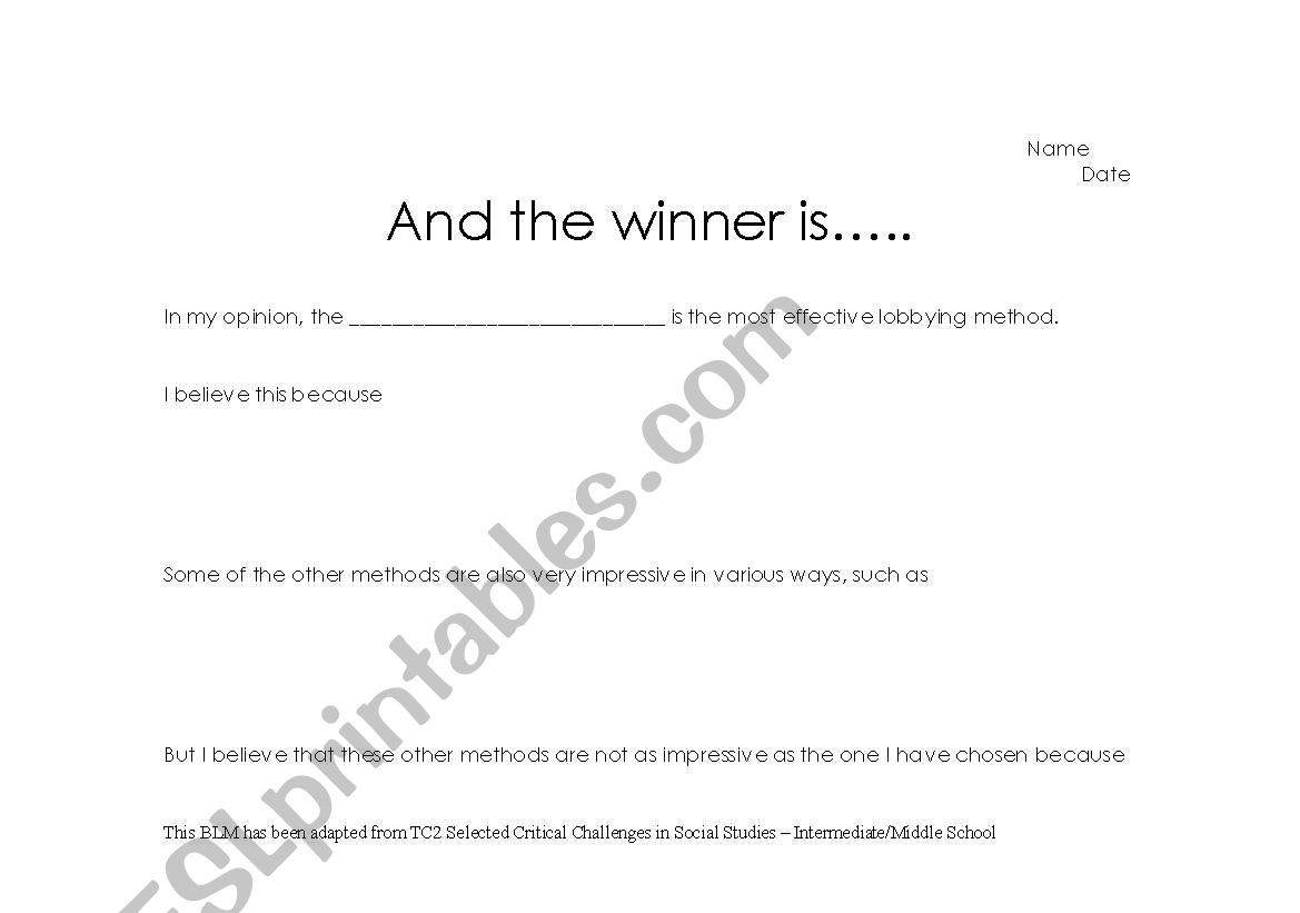 Adaptation Worksheets for Middle School English Worksheets and the Winner is