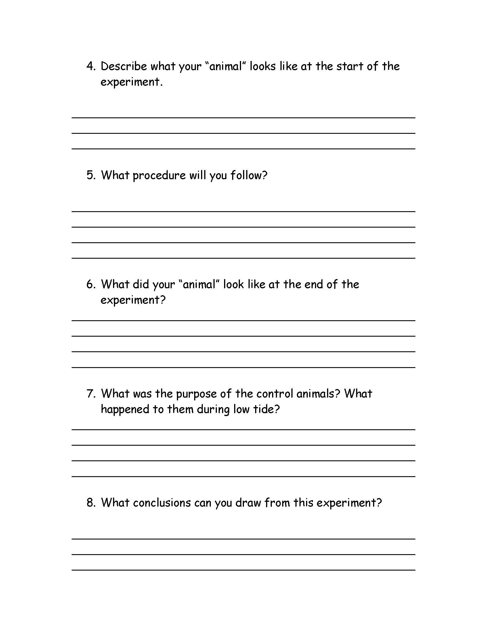 Adaptation Worksheets for Middle School How Do Tides Affect Marine Animals