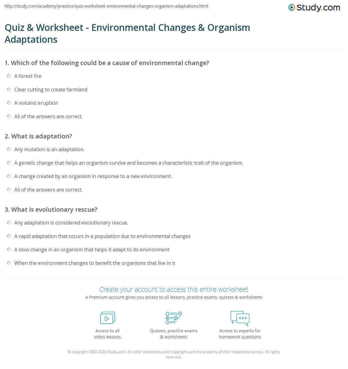 Adaptation Worksheets for Middle School Quiz & Worksheet Environmental Changes & organism
