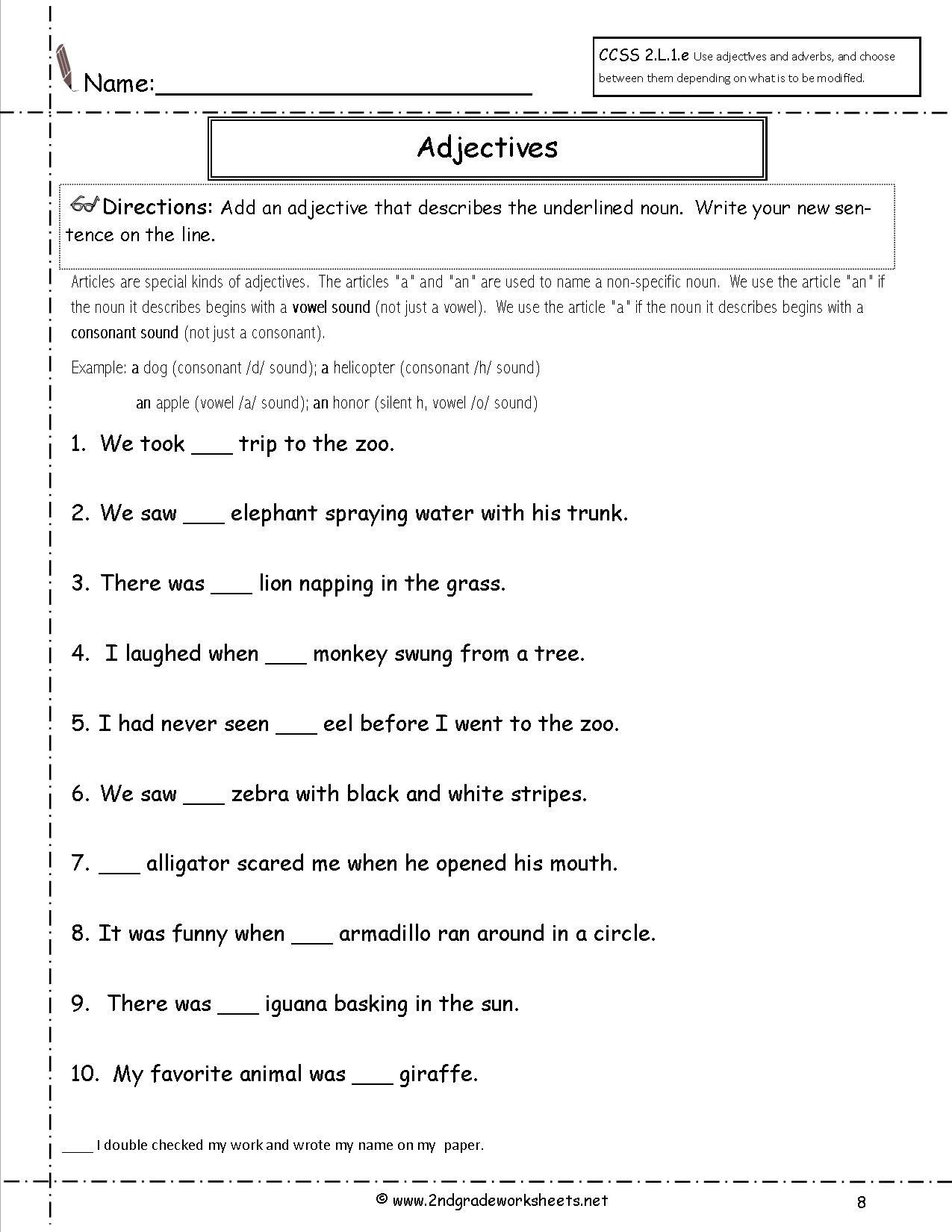 Adjective Worksheets 1st Grade 2ndgradeworksheets Net Free Worksheets and Printables for