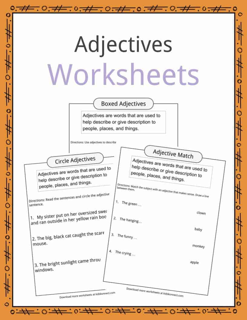 Adjective Worksheets 1st Grade Adjectives Definition Worksheets & Examples In Text for Kids