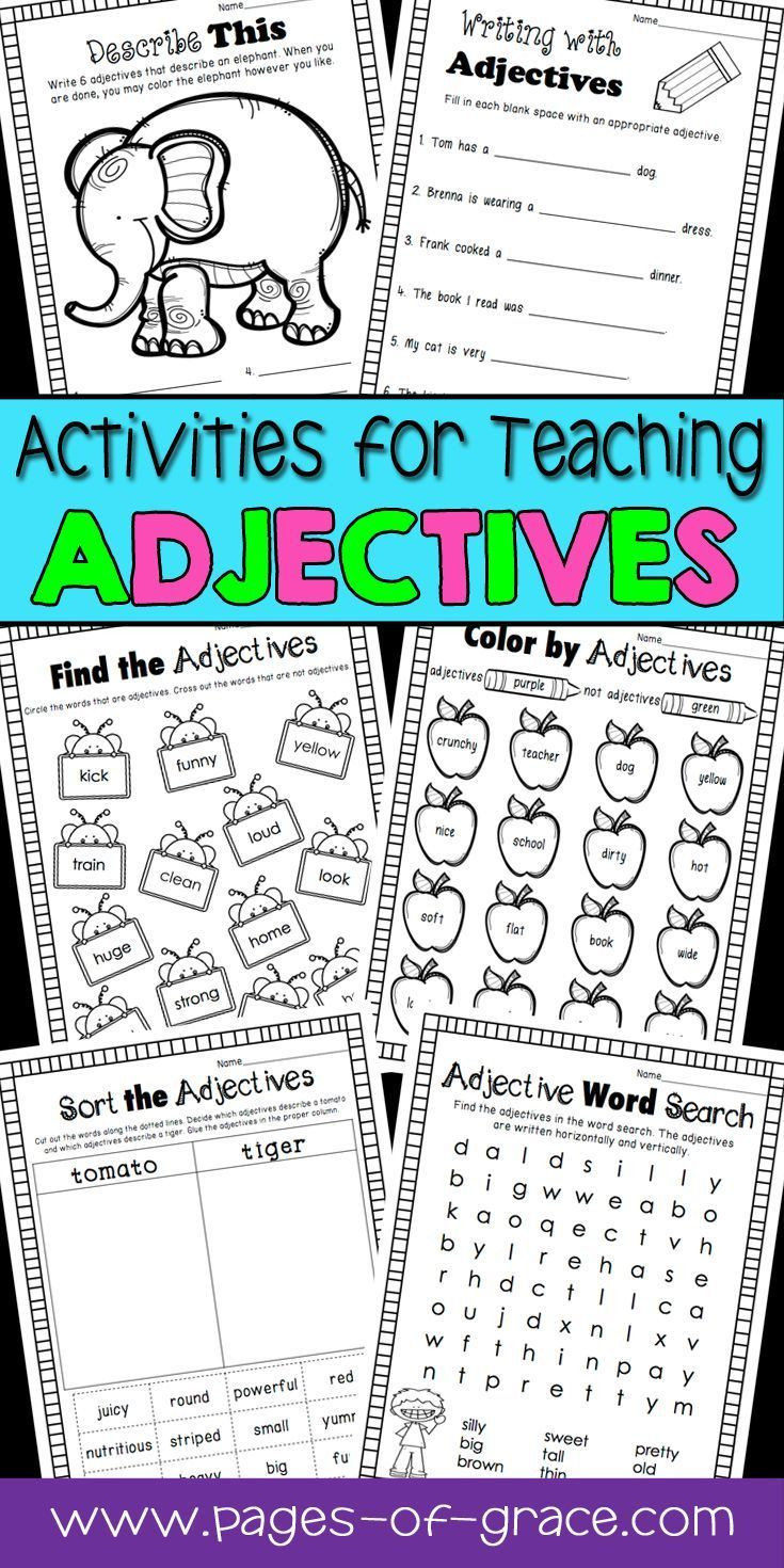 Adjective Worksheets 1st Grade Adjectives Unit 1st 2nd Grade