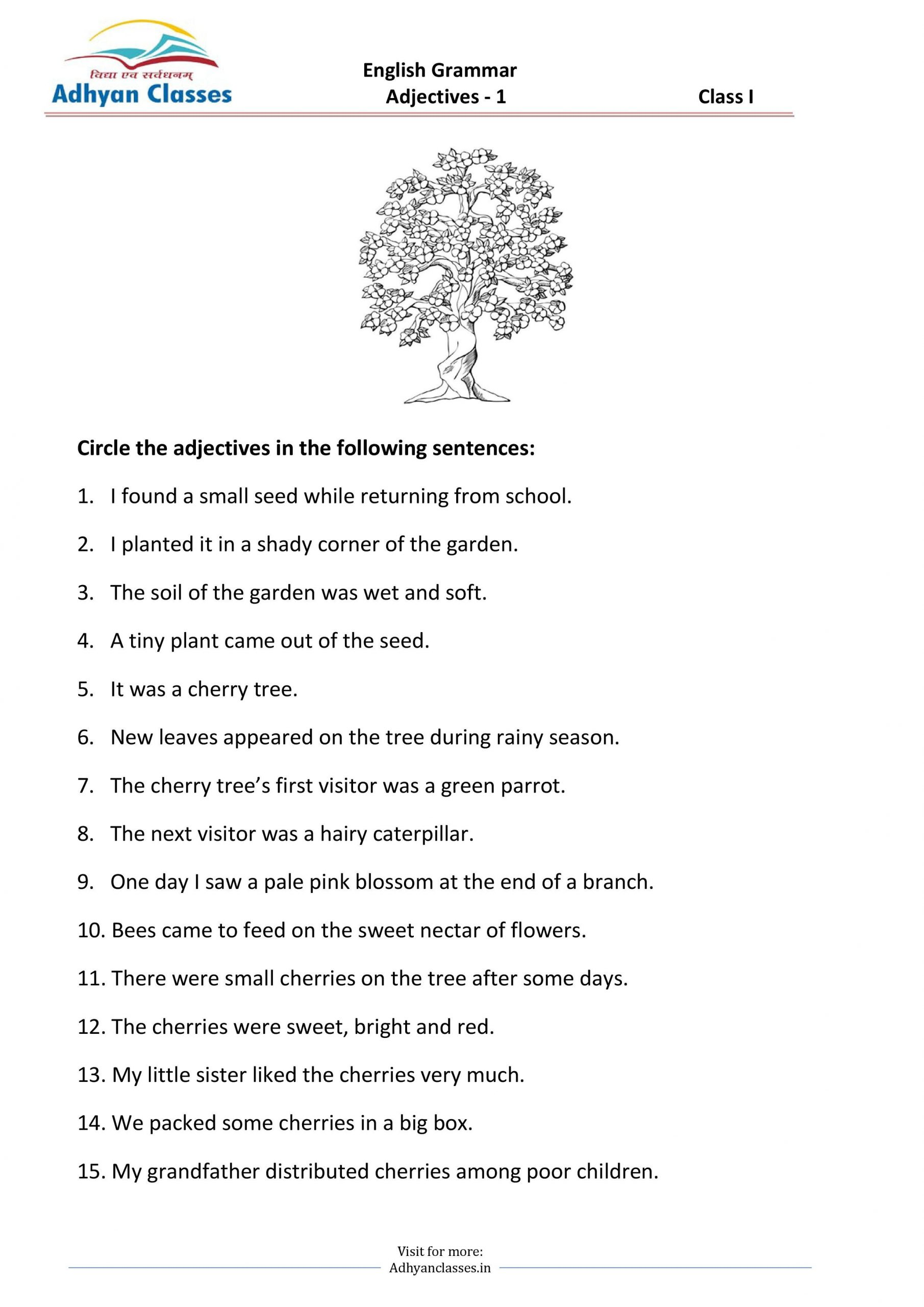 Adjective Worksheets 1st Grade Circle the Adjectives Worksheets for Grade 1 In 2020