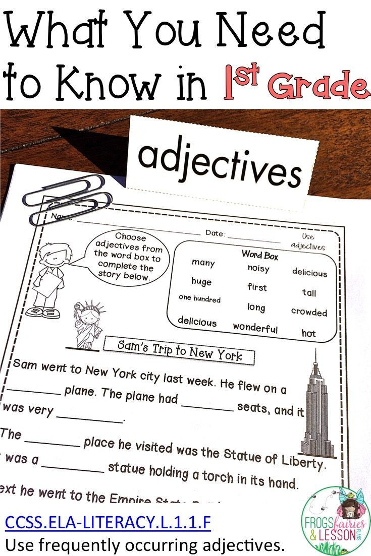 Adjective Worksheets 1st Grade First Grade Adjectives