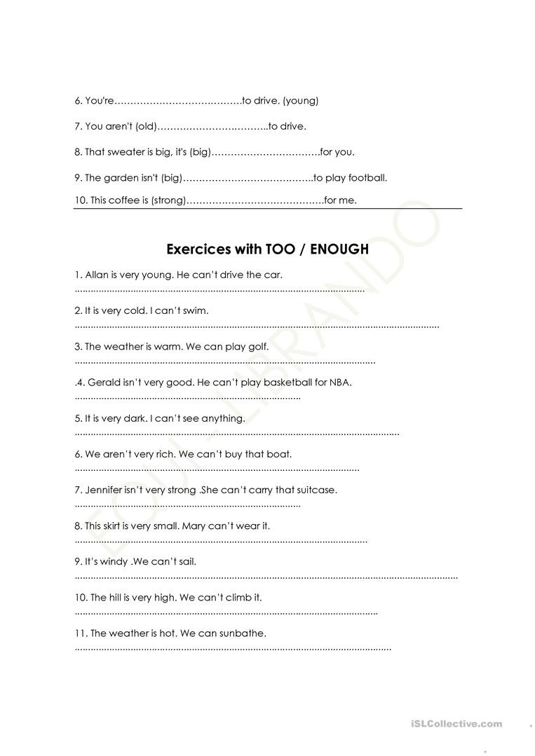 Adjective Worksheets 1st Grade too Adjective Not Enough English Esl to Verb Worksheets