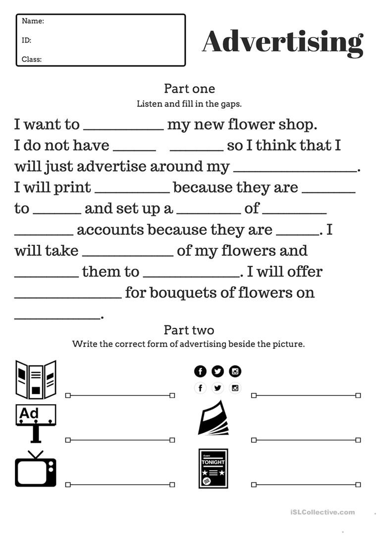 Advisory Worksheets for Middle School Advertising Test for High School Students English Esl
